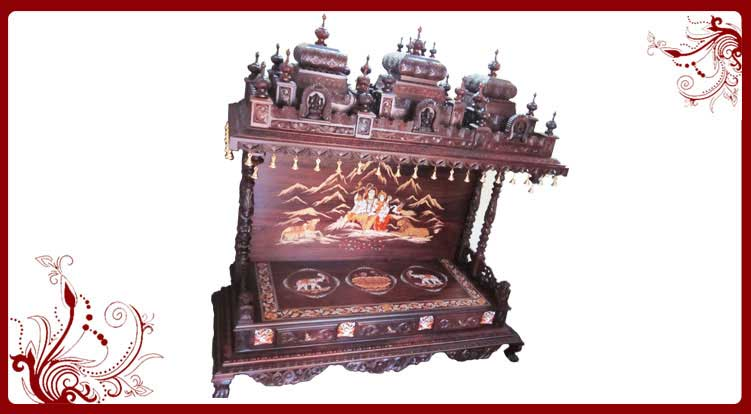 Home Temple Furniture Rosewood Pooja Mandir Wooden Home Temple Home ...