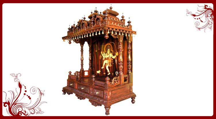 House Warming Gifts - Wood Temple for Home | Pooja Mandir Models