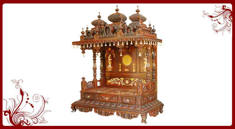 Gentil South Indian Wooden Home Temple Pooja Room Mandir Designs