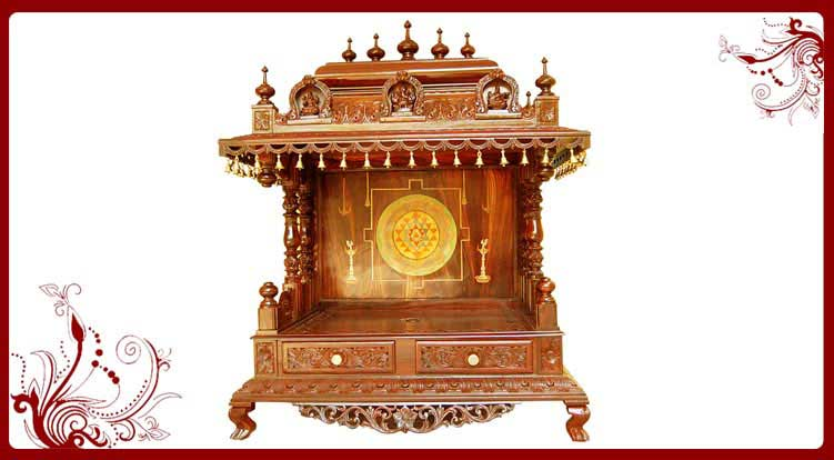 Pooja cabinets usa quotes for Temple inside home designs