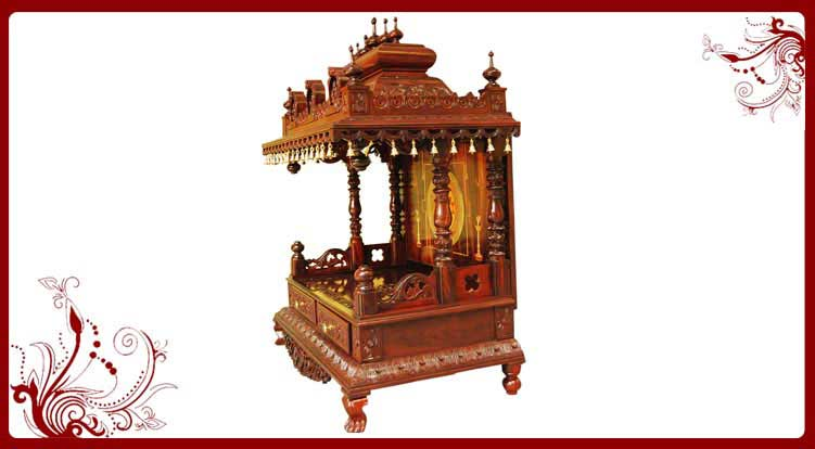 home wooden temple design. wooden altar mandir usa Gruhapravesam With Wooden Temple for Home  Pooja Mandir USA